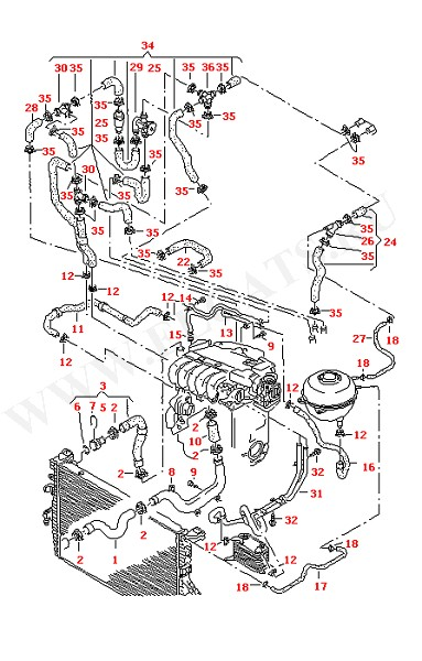 Водяные шланги и трубки Дополнительный отопитель контура охладителя (Двигатель, Сцепление)