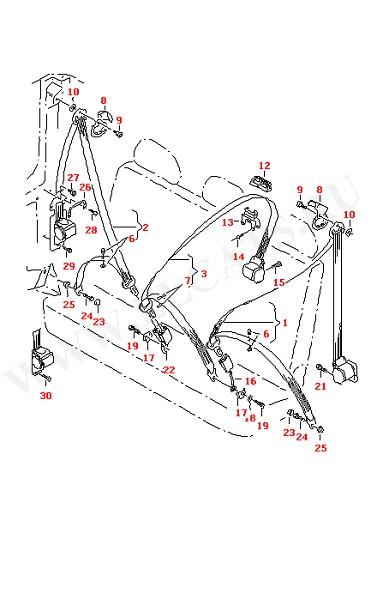 3-точечный ремень безопасности в салоне для 3-местного сиденья для моделей с колесной базой: (Кузов)