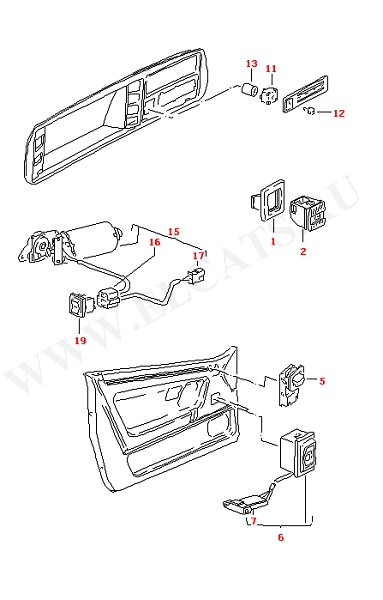 Выключатель моторчика вентилятора Выключатель электроокон Двигатель для регулировки сиденья (Электрика)