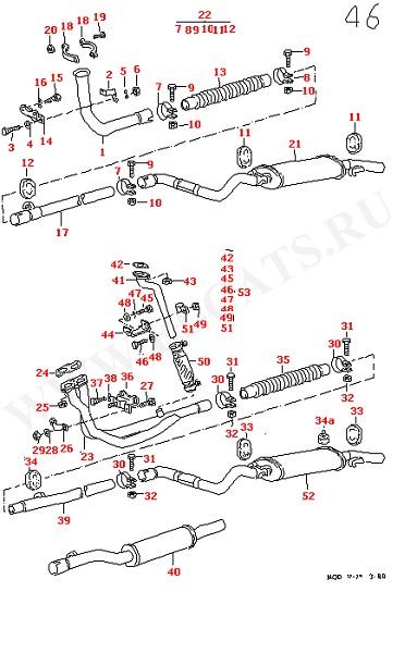 Выхлопная труба Промежуточная труба Глушитель, задняя часть (Топливная система, Система выпуска ОГ, Отопитель)