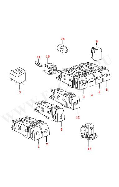 Выключатели боковых фонарей, фар и ламп аварийной сигнализации, обогрева задних окон, передних и задних противотуманных фар, подогрева сидений (Электрика)