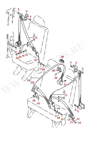 3-точечный ремень безопасности в салоне для складного сиденья для 2-местного сиденья (Кузов)