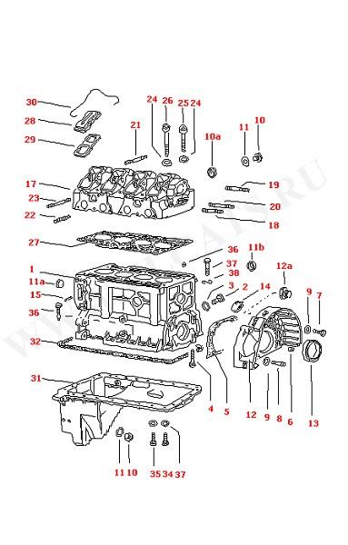 Блок цилиндров Картер сцепления Голова блока цилиндров Масляный поддон (Двигатель, Сцепление)