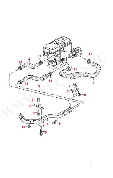 Водяные шланги и трубки Дополнительный отопитель контура охладителя Также см. иллюстрацию: (Кузов)