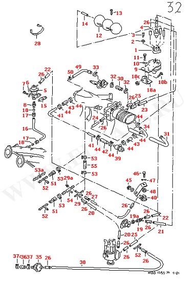 Вакуумная система Система фильтрования с активированным углем Рециркуляция отработанных газов Соединительные части для моделей с последовательной системой уменьшения выхлопа (Двигатель, Сцепление)