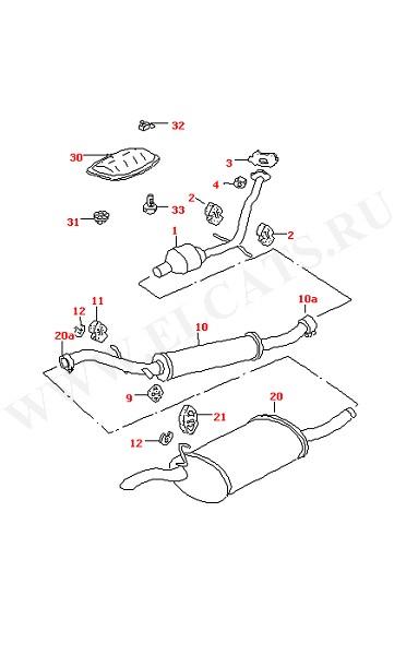 Выхлопная труба с катализатором (Топливная система, Система выпуска ОГ, Отопитель)