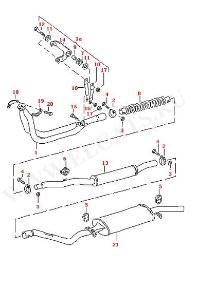 Выхлопная труба Глушитель, передняя часть Глушитель, задняя часть (Топливная система, Система выпуска ОГ, Отопитель)