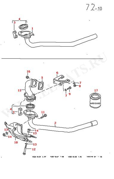 Выхлопная труба Патрубок выхлопной системы (Топливная система, Система выпуска ОГ, Отопитель)