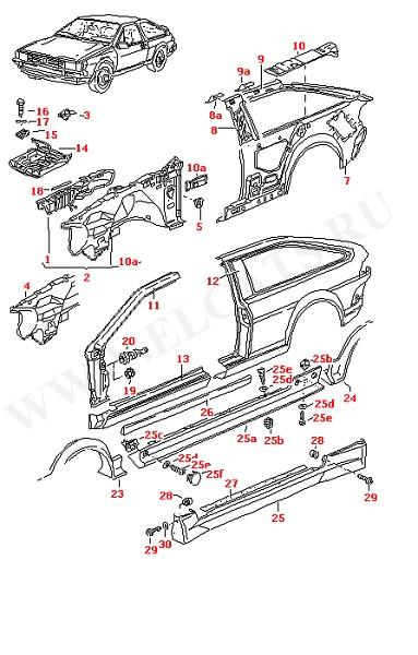 Боковая панель Надколесная дуга Крепление АКБ Уширение боковины (Кузов)