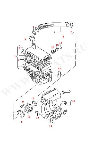 Воздушный фильтр Впускной патрубок (Двигатель, Сцепление)