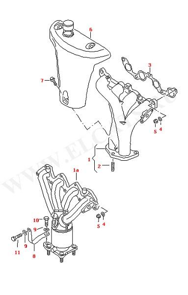 Выпускной коллектор Выпускной коллектор с катализатором (Топливная система, Система выпуска ОГ, Отопитель)