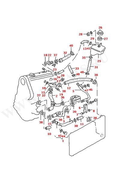 Водяные шланги и трубки Фланец Расширительный бачок (Двигатель, Сцепление)
