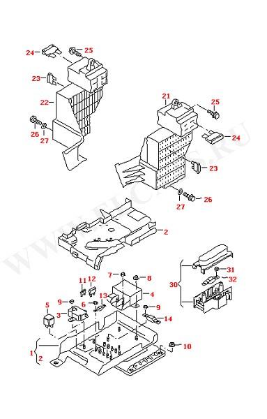 Блок главных прелохранителей Блок предохранителей Приборная панель Блок реле для моделей с мультимедийным оборудованием (Электрика)