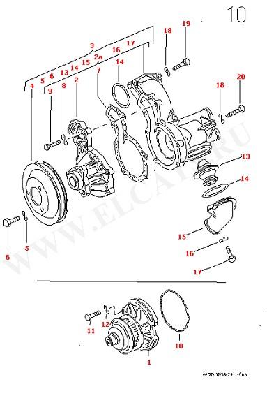 Водяная помпа (Двигатель, Сцепление)